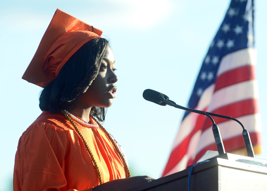 Description of . Kamri Staples, STEM Academy at Showalter valedictorian gives her speech during the Chester High School graduation, Friday. (Times Staff / JULIA WILKINSON)