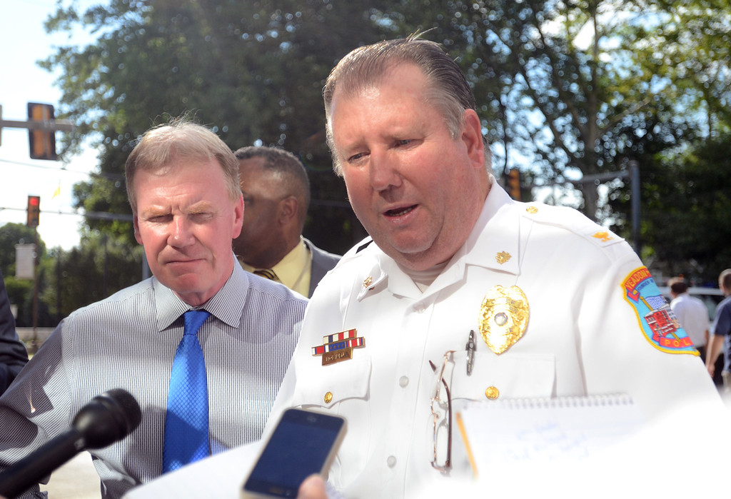 . Yeadon Police Chief Don Molineux talks to the press about a shooting at the Sister Marie Lenahan Wellness Center in Yeadon on the campus of Mercy Fitzgerald Hospital Thursday. (Times Staff / JULIA WILKINSON)