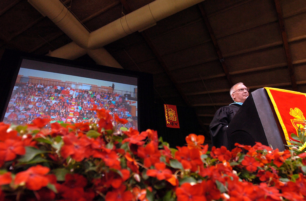 . Principal Richard Gregg speaks to the crowd during Penncrest High School\'s graduation at Villanova University, Thursday. (Times Staff / JULIA WILKINSON )